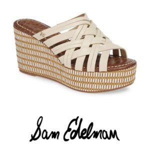 Sam Edelman White Tan Devon Wedge Slide Sandal 9